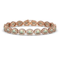 9.5 ctw Opal & Diamond Micro Pave Halo Bracelet 10k Rose Gold