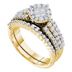 14kt Yellow Gold Womens Princess Diamond Bridal Wedding Engagement Ring Set 1.00 Cttw