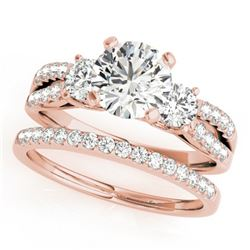 1.46 ctw VS/SI Diamond 3 Stone 2pc Wedding Set 14k Rose Gold