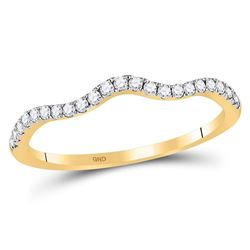 10kt Yellow Gold Womens Round Diamond Contoured Stackable Band Ring 1/5 Cttw