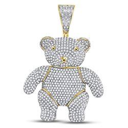 10kt Yellow Gold Mens Round Diamond Teddy Bear Charm Pendant 3-1/5 Cttw