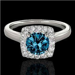1.37 ctw SI Certified Fancy Blue Diamond Halo Ring 10k White Gold