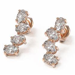 4 ctw Oval Diamond Designer Earrings 18K Rose Gold
