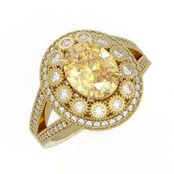 3.75 ctw Canary Citrine & Diamond Victorian Ring 14K Yellow Gold