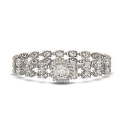 13.82 ctw Cushion Cut & Oval Diamond Bracelet 18K White Gold