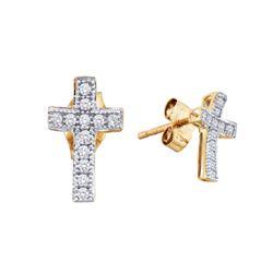 10kt Yellow Gold Womens Round Diamond Cross Earrings 1/10 Cttw