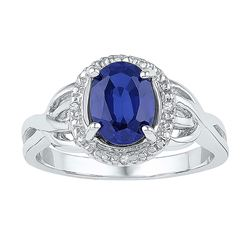 Sterling Silver Womens Oval Lab-Created Blue Sapphire Solitaire Diamond-accent Ring 1-5/8 Cttw