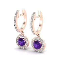 1.75 ctw Amethyst & Micro Pave VS/SI Diamond Earrings 14k Rose Gold