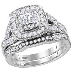 14kt White Gold Womens Princess Diamond Bridal Wedding Engagement Ring Set 1-1/8 Cttw