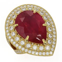 16.29 ctw Certified Ruby & Diamond Victorian Ring 14K Yellow Gold