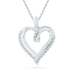 10kt White Gold Womens Round Diamond Heart Pendant 1/10 Cttw