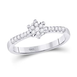10kt White Gold Womens Round Diamond Flower Cluster Stackable Band Ring 1/5 Cttw