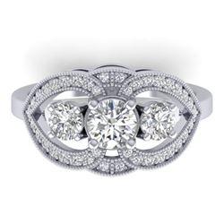 1.5 ctw Certified VS/SI Diamond Art Deco 3 Stone Ring 14k White Gold