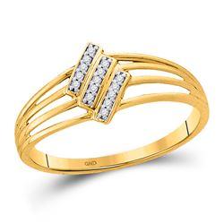 10kt Yellow Gold Womens Round Diamond Stripe Band Ring 1/20 Cttw