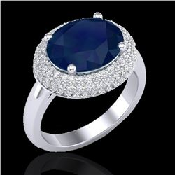 4.50 ctw Sapphire & Micro Pave VS/SI Diamond Ring 18k White Gold