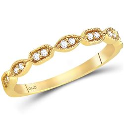 14kt Yellow Gold Womens Round Diamond Geometric Stackable Band Ring 1/10 Cttw