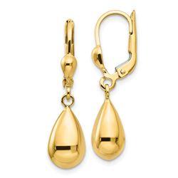 14k Gold Polished Fancy Dangle Leverback Earrings