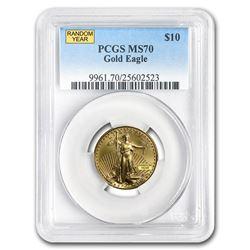 1/4 oz Gold American Eagle MS-70 PCGS (Random Year)