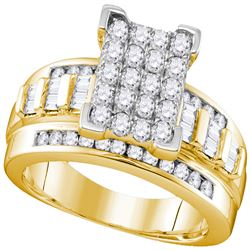 10kt Yellow Gold Womens Round Diamond Cluster Bridal Wedding Engagement Ring 7/8 Cttw Size 9.5