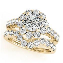 3.36 ctw Certified VS/SI Diamond 2pc Wedding Set Halo 14k Yellow Gold