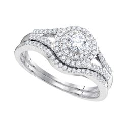 10kt White Gold Womens Round Diamond Concentric Halo Bridal Wedding Engagement Ring Set 1/2 Cttw