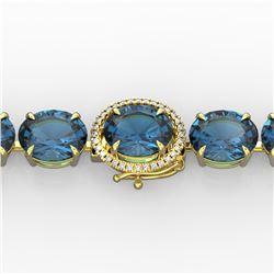 79 ctw London Blue Topaz & Micro Diamond Bracelet 14k Yellow Gold