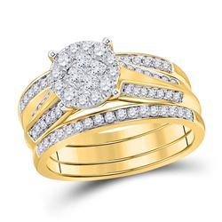 14kt Yellow Gold Womens Princess Diamond Bridal Wedding Engagement Ring Band Set 1.00 Cttw