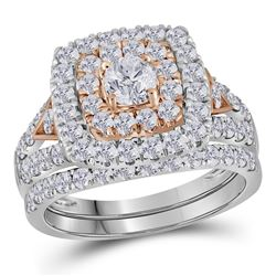 14kt Two-tone Gold Womens Round Diamond Halo Bridal Wedding Engagement Ring Set 2.00 Cttw