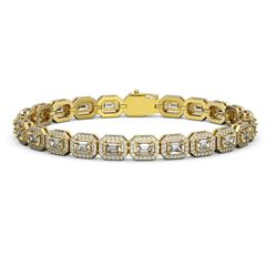 10.39 ctw Emerald Cut Diamond Micro Pave Bracelet 18K Yellow Gold