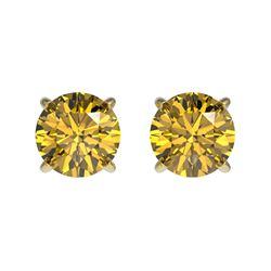 1.04 ctw Certified Intense Yellow Diamond Stud Earrings 10k Yellow Gold