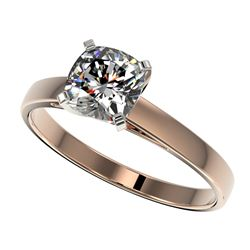 1 ctw Certified VS/SI Quality Cushion Cut Diamond Ring 10k Rose Gold