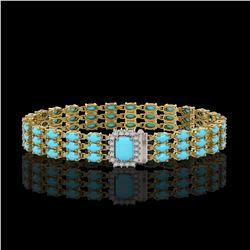 19.27 ctw Turquoise & Diamond Bracelet 14K Yellow Gold