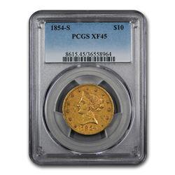 1854-S $10 Liberty Gold Eagle XF-45 PCGS