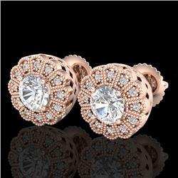 1.32 ctw VS/SI Diamond Solitaire Art Deco Stud Earrings 18k Rose Gold