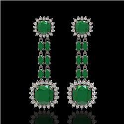 19.88 ctw Emerald & Diamond Earrings 14K White Gold