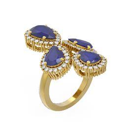 9.57 ctw Sapphire & Diamond Ring 18K Yellow Gold