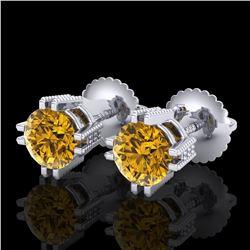 1.07 ctw Intense Fancy Yellow Diamond Art Deco Earrings 18k White Gold