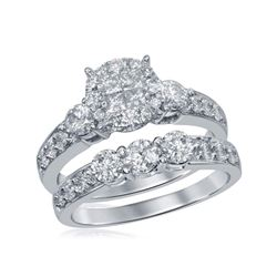14kt White Gold Womens Princess Diamond Bridal Wedding Engagement Ring Band Set 1-1/2 Cttw