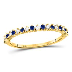 10kt Yellow Gold Womens Round Blue Sapphire Diamond Stackable Band Ring 1/5 Cttw