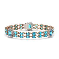 17.68 ctw Swiss Topaz & Diamond Bracelet 14K Rose Gold