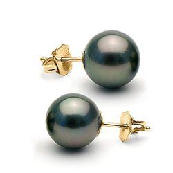 Black Tahitian Pearl Stud Earrings, 10.0-11.0mm