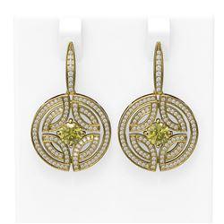 3.36 ctw Fancy Yellow Diamond Earrings 18K Yellow Gold