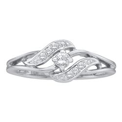 10kt White Gold Womens Round Diamond Solitaire Bridal Wedding Engagement Ring 1/6 Cttw