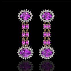 8.19 ctw Amethyst & Diamond Earrings 14K Yellow Gold