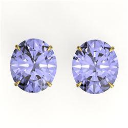 18 ctw Tanzanite Designer Solitaire Stud Earrings 18k Yellow Gold