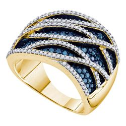 10kt Yellow Gold Womens Round Blue Color Enhanced Diamond Striped Ring 1-1/4 Cttw
