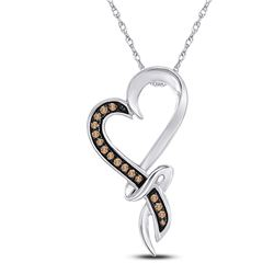 10kt White Gold Womens Round Brown Diamond Heart Pendant 1/10 Cttw