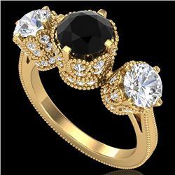 3.06 ctw Fancy Black Diamond Art Deco 3 Stone Ring 18k Yellow Gold