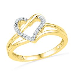10kt Yellow Gold Womens Round Diamond Heart Outline Ring 1/20 Cttw