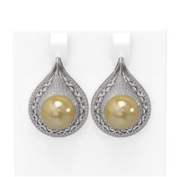 2 ctw Diamond & Pearl Earrings 18K White Gold
